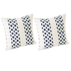 Schumacher Izmir Stripe Ikat Woven Indigo Blue Two-Sided Pillows, Pair