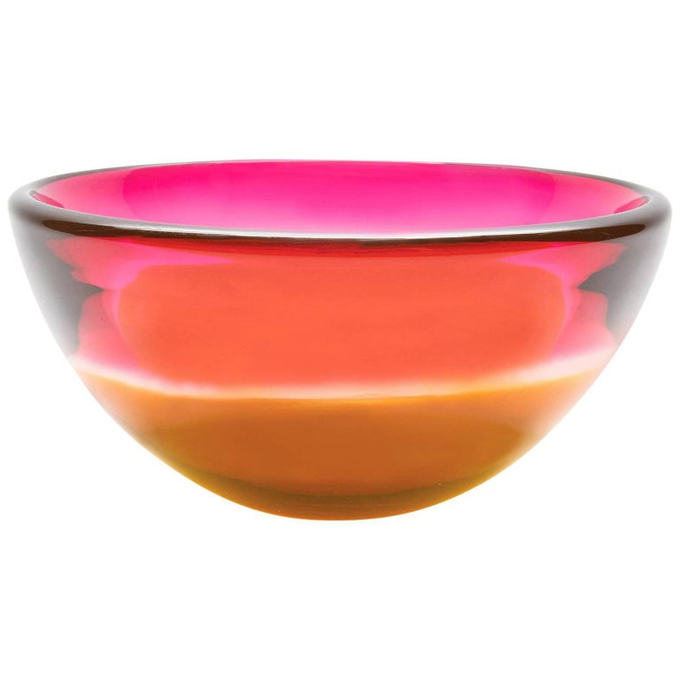 Two-Tone Series, Cranberry Amber Handblown Glass Bowl by Caleb Siemon