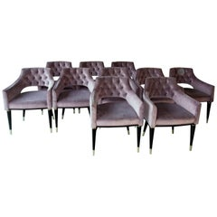 Set, Ten Dining Armchair, Tufted Cotton Velvet, Midcentury Style, Luxury Details