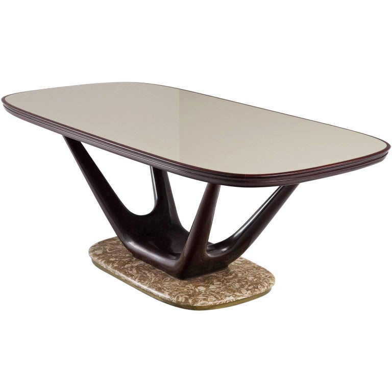 Italian Dining Table in Marble Glass and Mahogany