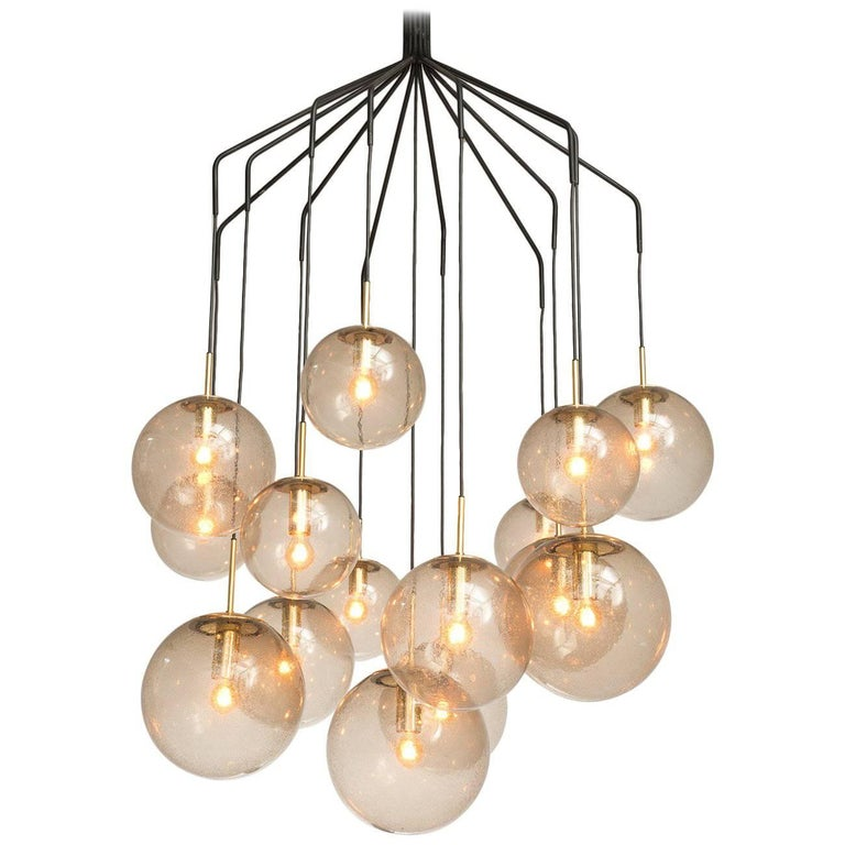 Large 'Spider' Chandelier with 15 Spheres in Smoked Glass and Brass