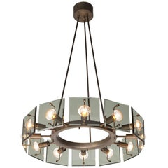Italian Chandelier in Glass and Brass, circa 1950