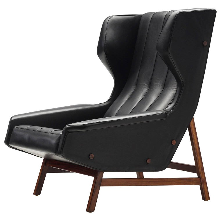Gianfranco Frattini Chair Reupholstered with Aniline Leather Rosewood