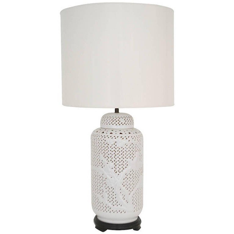 Pierced Porcelain Blanc de Chine Table Lamp