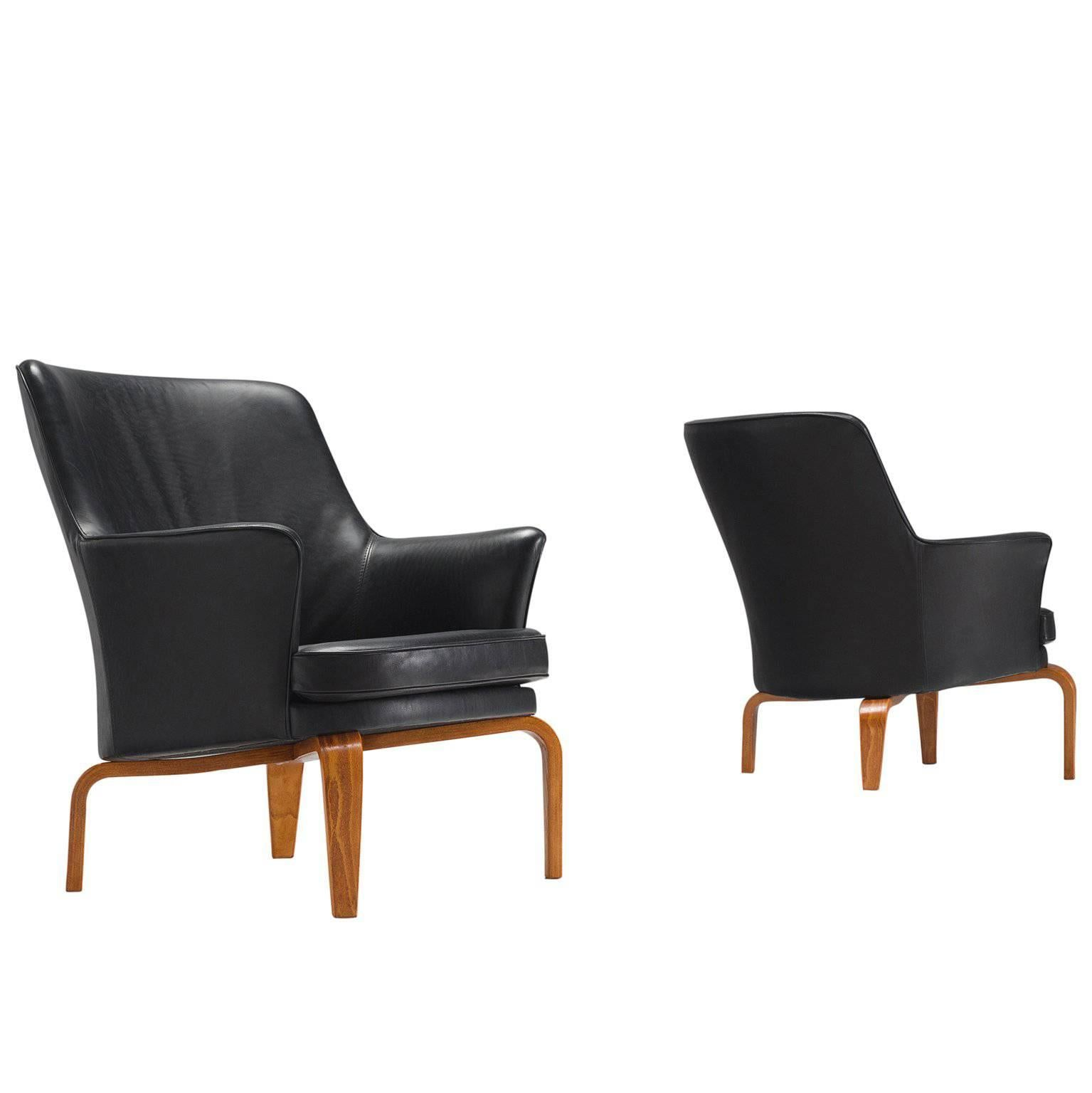 Delicieux Arne Norell Pair Of Reupholstered High Quality Leather U0027Pilotu0027 Armchairs