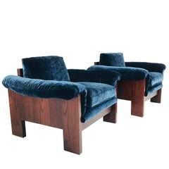 Pair of Milo Baughman Rosewood Lounge Chairs in Velvet
