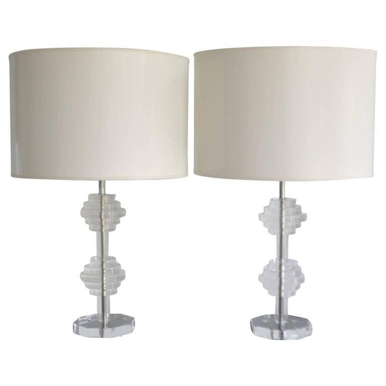 Pair of Midcentury Stacked Lucite Table Lamps