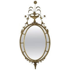 1940's Oval Neoclassical Giltwood Mirror
