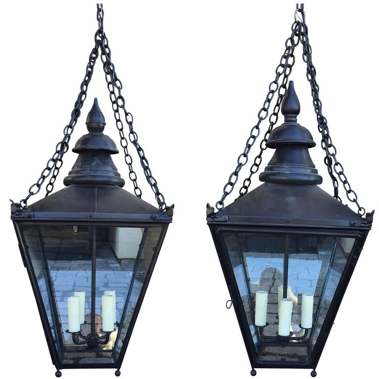 Assembled Pair of 19th Century English Black Lanterns