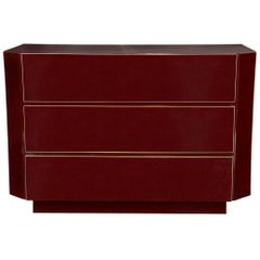 1970s Burgundy Red Lacquer Chest Attributed to Maison Jansen