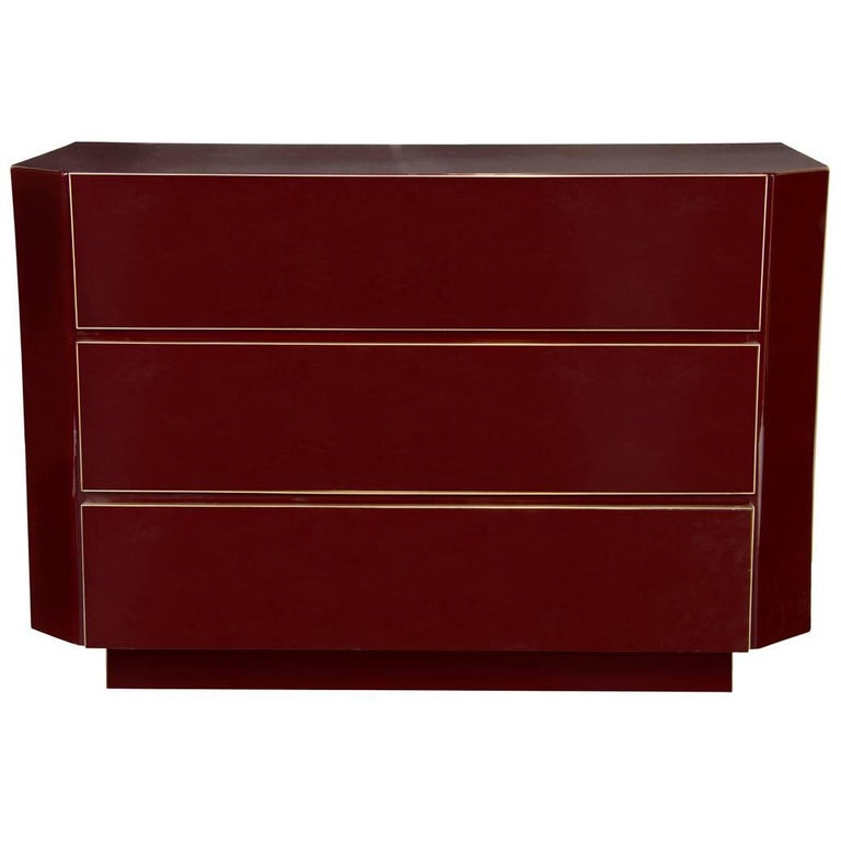 1970s Burgundy Red Lacquer Chest Attributed to Maison Jansen For Sale