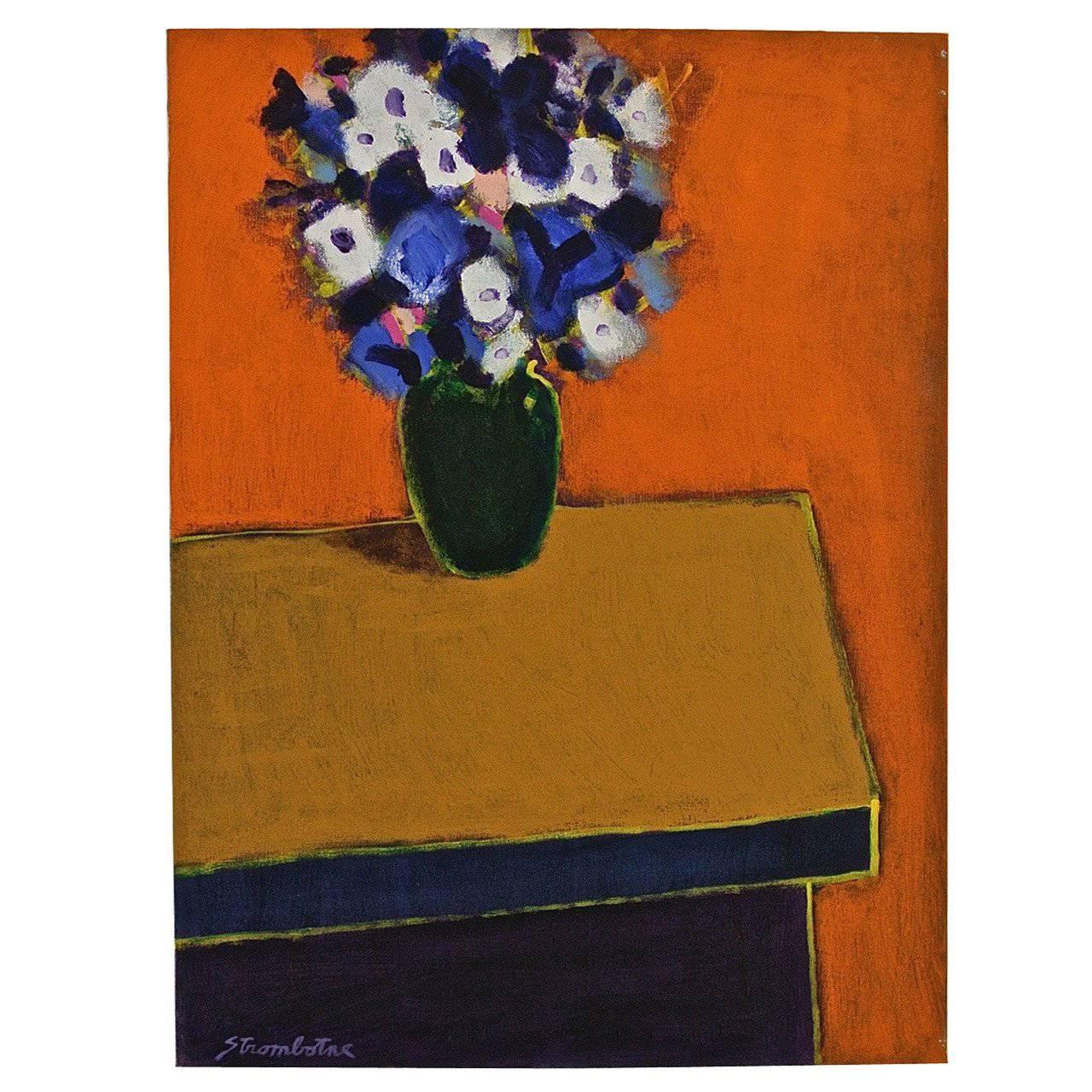 "James Strombotne painting ""Spring Bouquet"" acrylic on canvas"