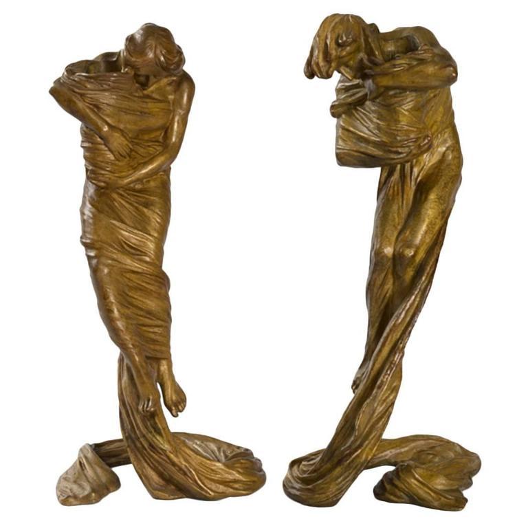 Gustav Gurschner Austrian Jugendstil Bronze Candlesticks For Sale