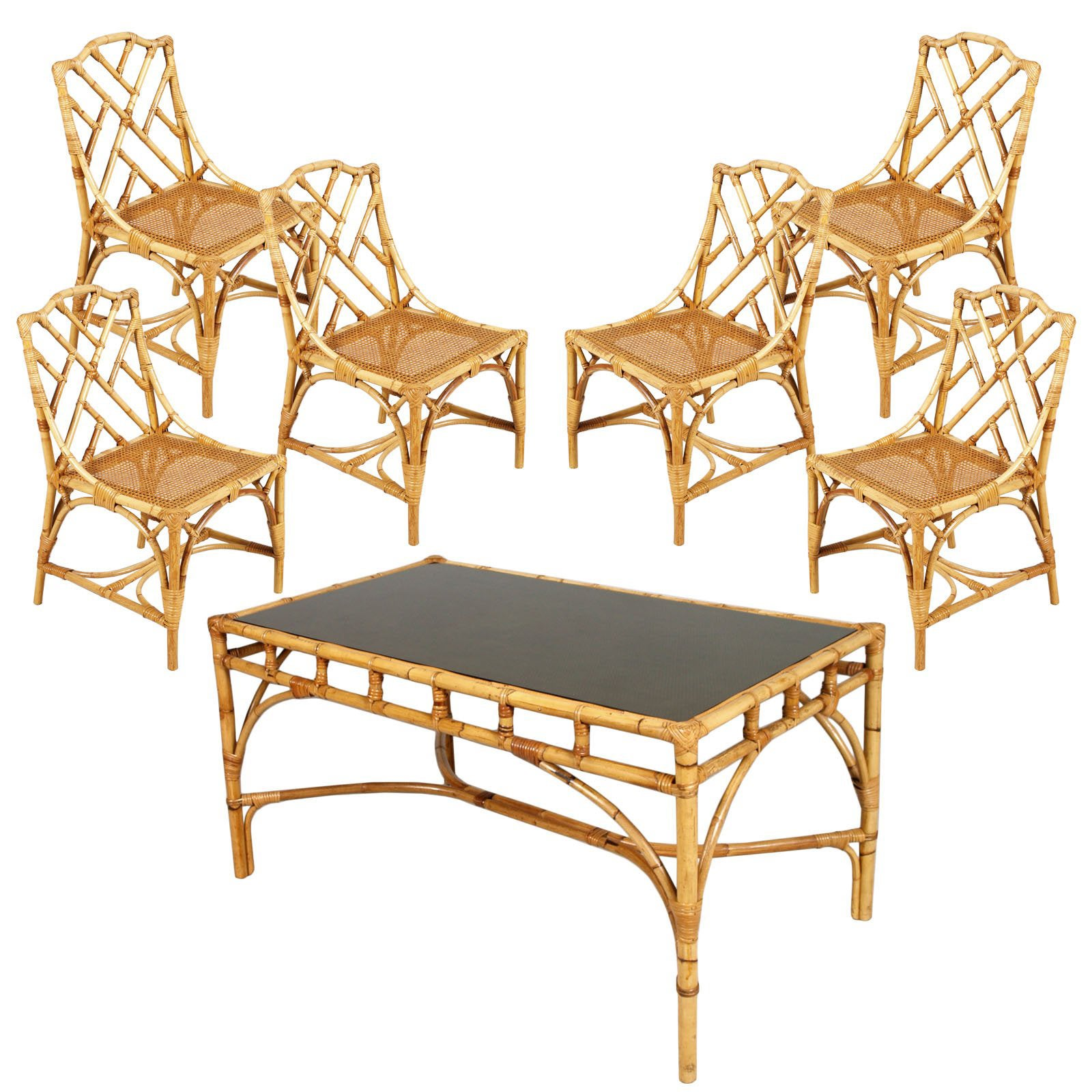 Mid 20th century six rattan bamboo chinese chippendale style chairs and table for sale at 1stdibs