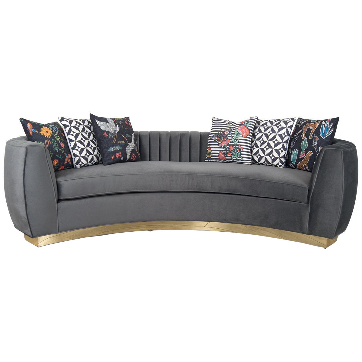 Modern Art Deco Style Sofa with Long-Arm Tufting Charcoal Velvet & Gold Toe Kick