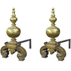 Pair of 19th Century English Brass Andirons