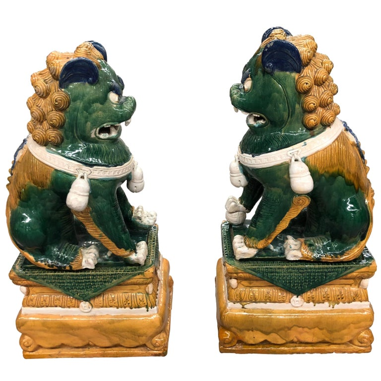 Sensational Huge Ceramic Pair of Chinese Foo Dog Sculptures For Sale