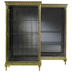 Pair of French Louis XVI Style Bronze and Polished Steel Vitrines Biblioteques