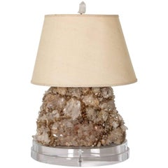 Monumental Rock Crystal Lamp with String Shade