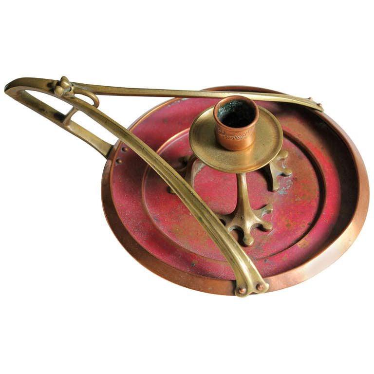 Arts and Crafts Copper and Brass Candleholder Jugendstil Aesthetic Movement