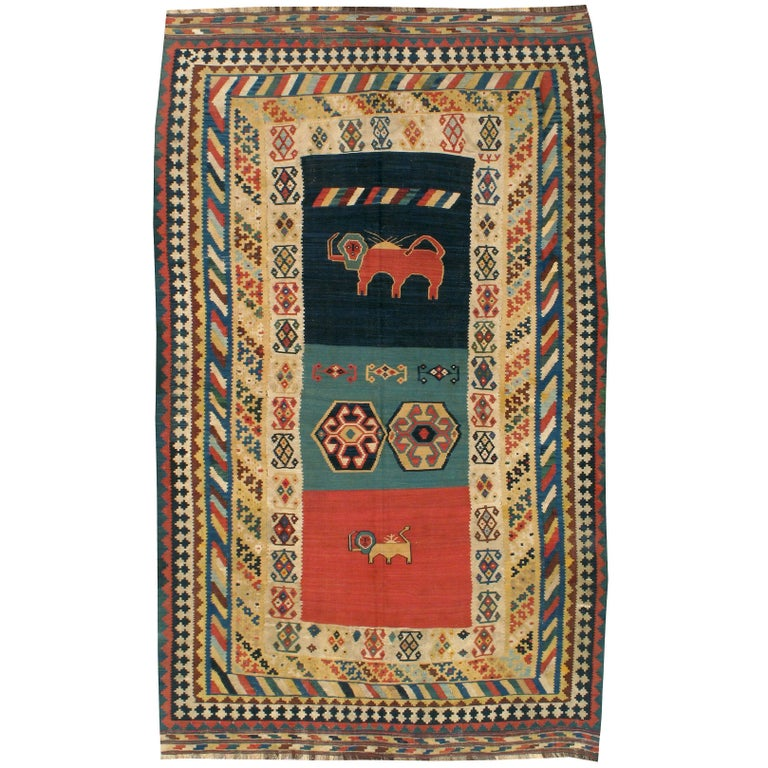 Antique Persian Kilim Flat-Weave Rug For Sale