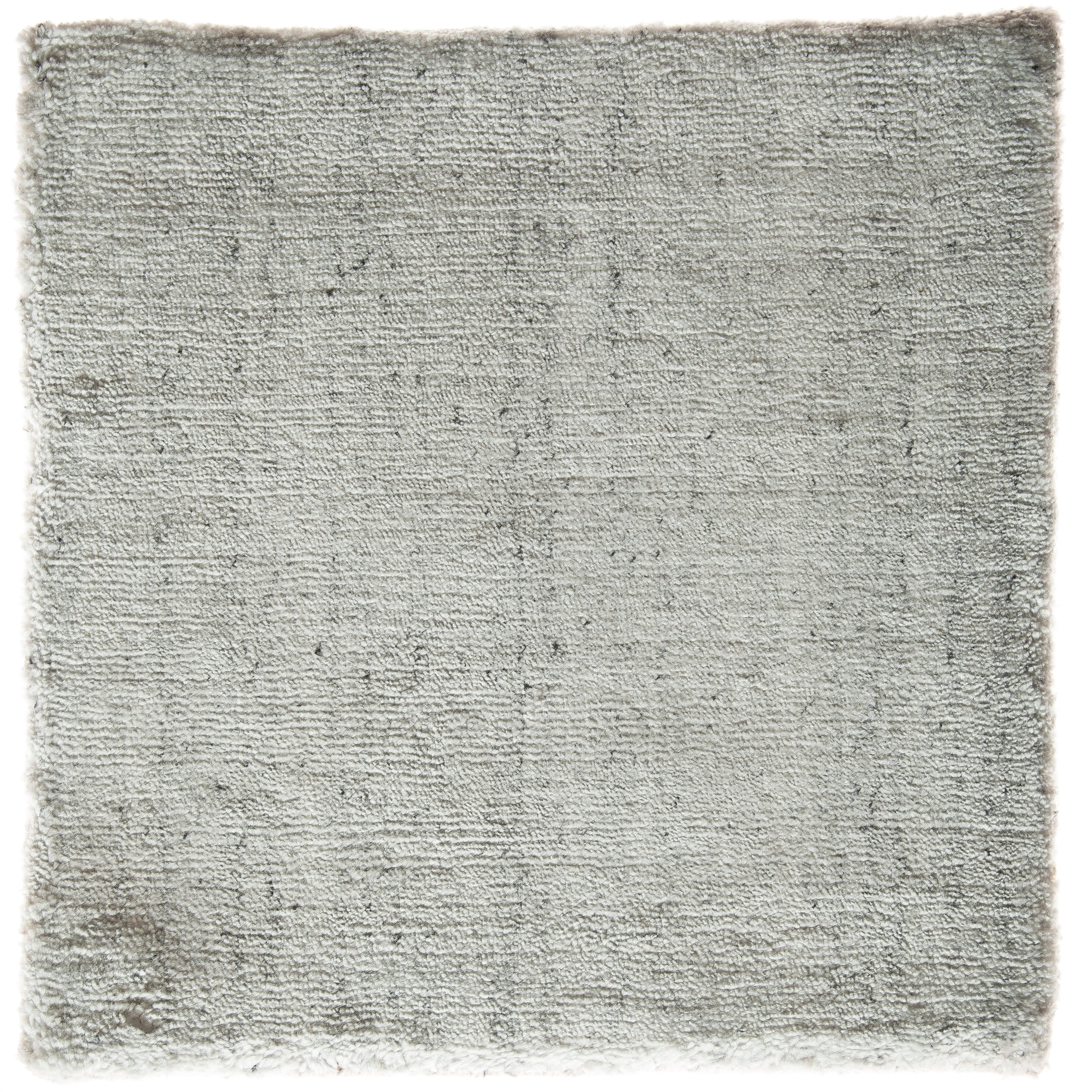 Solid White Rug with Slate Specks Made by Hand-Loom with Bamboo Silk