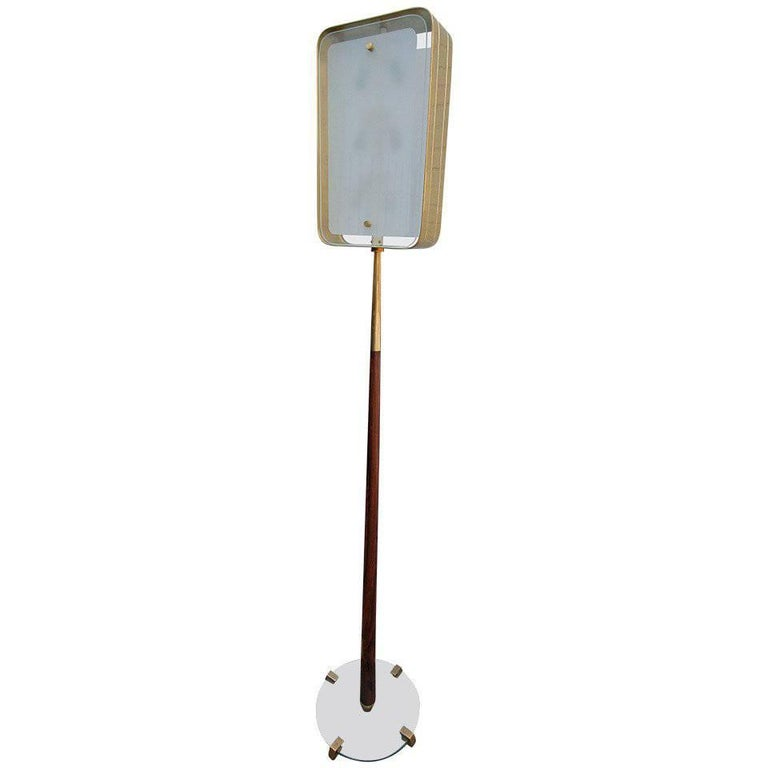Italian 1960s Fontana Arte Style Glass and Brass Floor Lamp