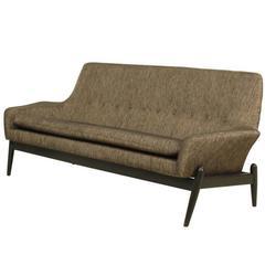 1950's Scandinavian Kofold Larsen Sofa Upholstered in Black and Gold Linnen