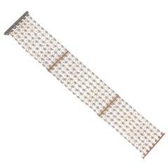 Belle Époque Natural Pearl Diamond Gold Platinum Bracelet
