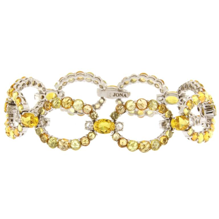 Jona Yellow and Orange Sapphire Diamond 18k White Gold Link Bracelet