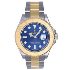 Rolex Yellow Gold Stainless Steel Yacht-Master Blue Dial Automatic Wristwatch