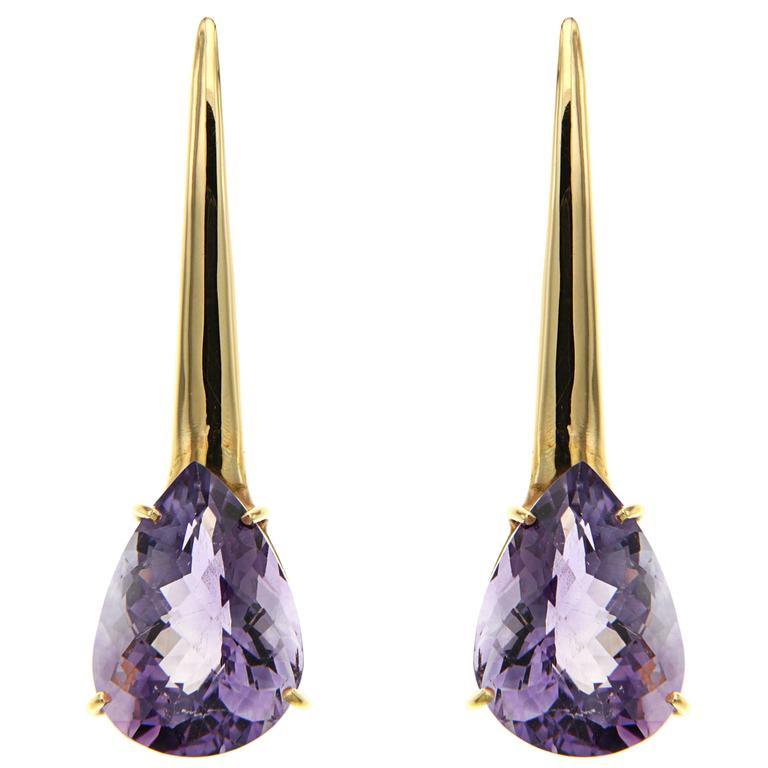 Violet Amethyst Rose Gold Dangle Earrings Modern