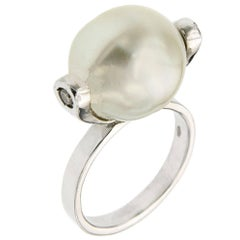 Australian Pearl Diamonds White Gold Ring Handcrafted In Italy By Botta Gioielli