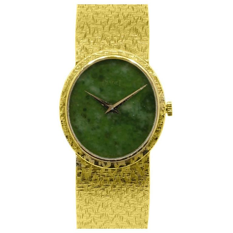 Piaget Ladies Yellow Gold Jade Stone Manual Dial Wristwatch For Sale