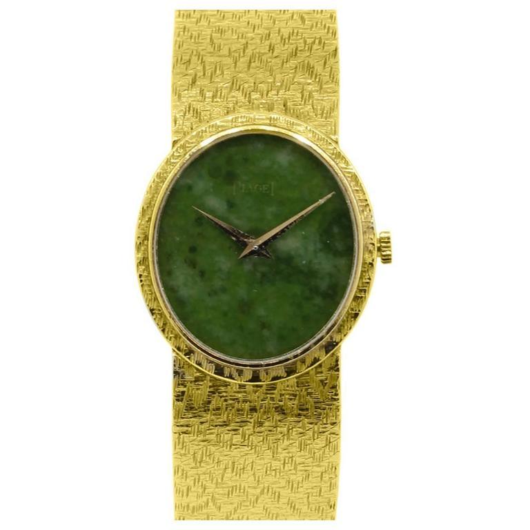 Piaget Ladies Yellow Gold Jade Stone Manual Dial Wristwatch