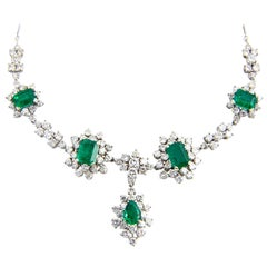 1950s Zambian Emerald, Diamond and Gold Necklace, Red Carpet Style GIA Cert