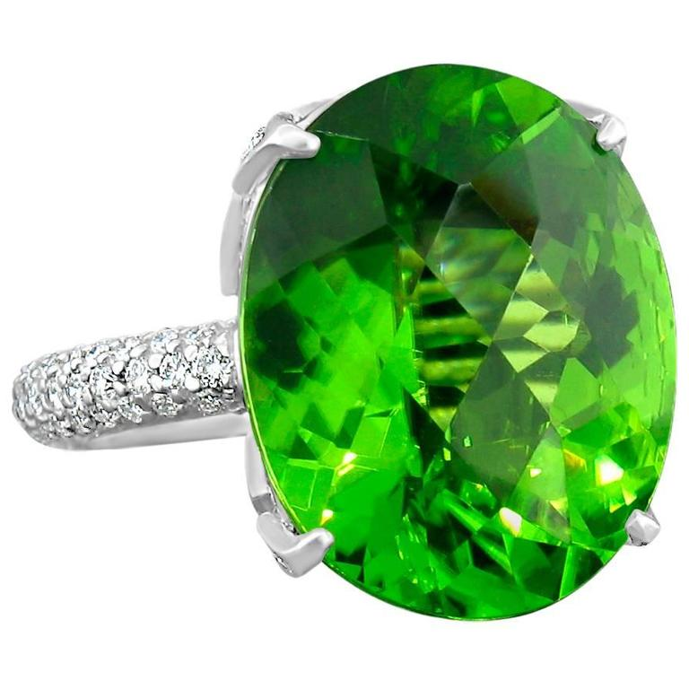 Burmese Peridot Diamond Platinum Ring For Sale