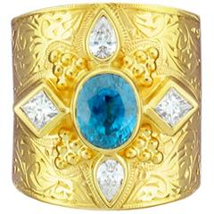 Paula Crevoshay Blue Zircon Diamond Gold  Band Ring