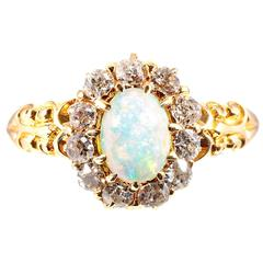 Precious Opal Diamond Gold Ring