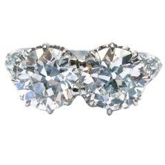 Art Deco Old European Cut Diamond Platinum Twin Ring