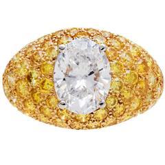 Van Cleef & Arpels 2.04 Carat Fancy Yellow Diamonds Gold Platinum Ring