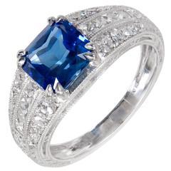 Peter Suchy Cornflower Blue Sapphire Diamond Platinum Engagement Ring
