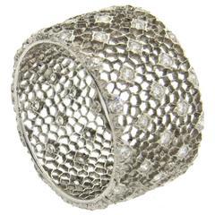 Buccellati Tulle Honeycomb Diamond Gold Wide Wedding Band Ring