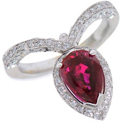 2.21 Carat Ruby Diamond Platinum Ring