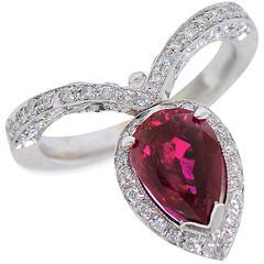2.21 Carat Ruby Diamond Platinum Ring