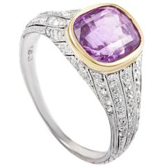 Tiffany & Co. Antique Sri Lankan Pink Sapphire Diamond Gold Platinum Ring