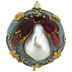 Exquisite Elizabeth Gage Carved Gemstone Pearl Enamel Diamond Gold Brooch