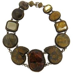 Large Stephen Dweck Bronze Multi Color Gemstone Fossil Necklace