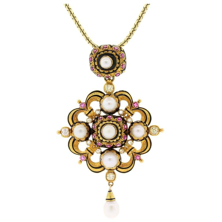 1890s Natural Pearls Old Cut Diamonds Ruby Gold Pendant Locket 1