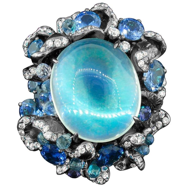 Arunashi Blue Moonstone Sapphire Titanium Ring For Sale
